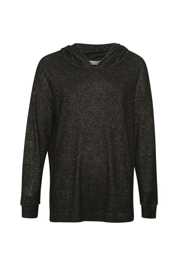Butter Fleece Hooded Long Sleeve Top, Black, original image number 0