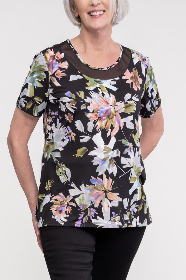 Floral Print Mesh Accent Neckline Short Sleeve, Black, original image number 1
