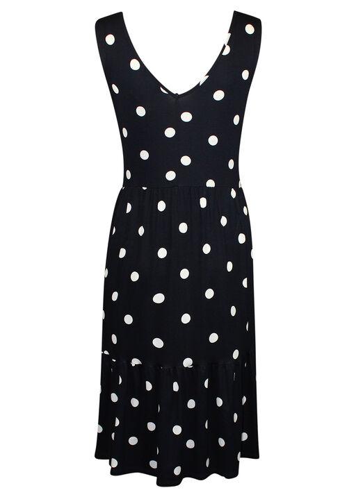 Sleeveless Polka Dot Print Dress , Navy, original