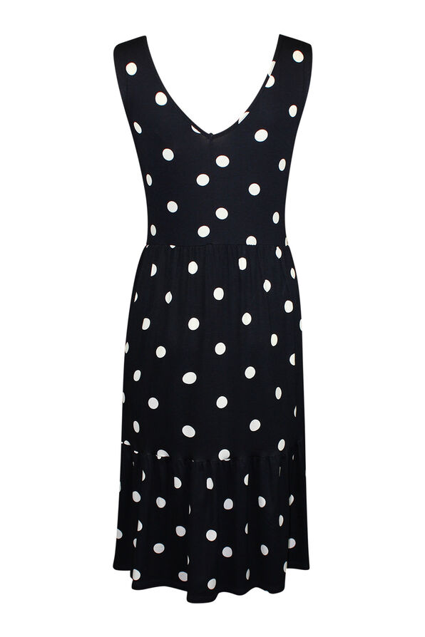 Sleeveless Polka Dot Print Dress , Navy, original image number 1