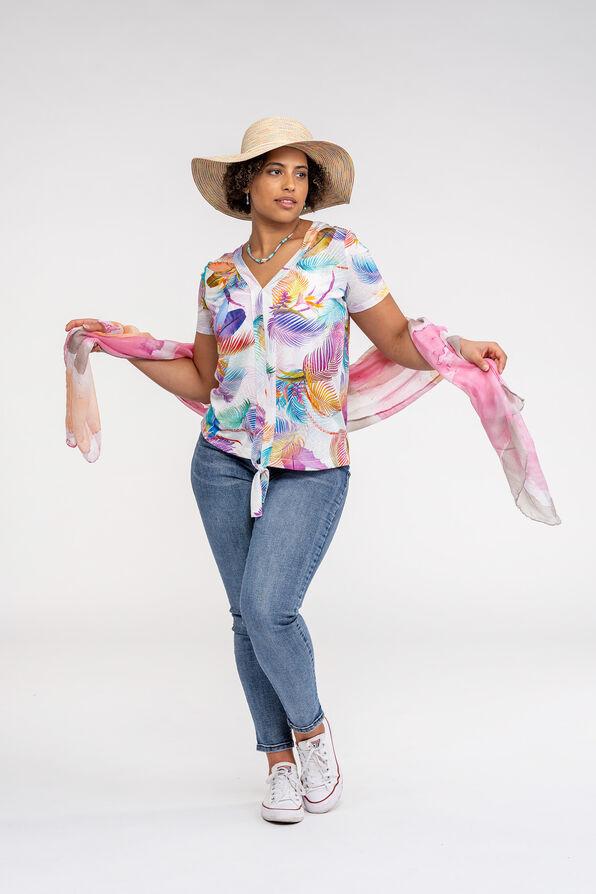 V Neck with Front Knot T-Shirt, Pink, original image number 1