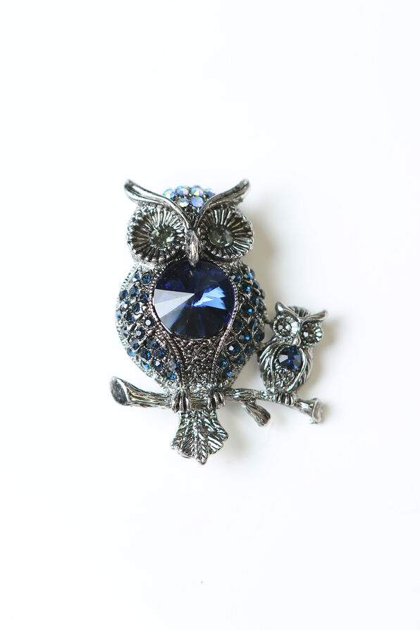 Owls Brooch , Black, original image number 0