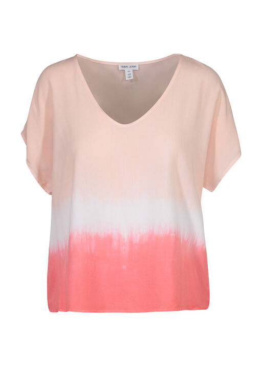 Dip Dye Cap Sleeve Shirt, Coral, original
