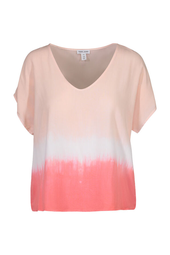 Dip Dye Cap Sleeve Shirt, Coral, original image number 0