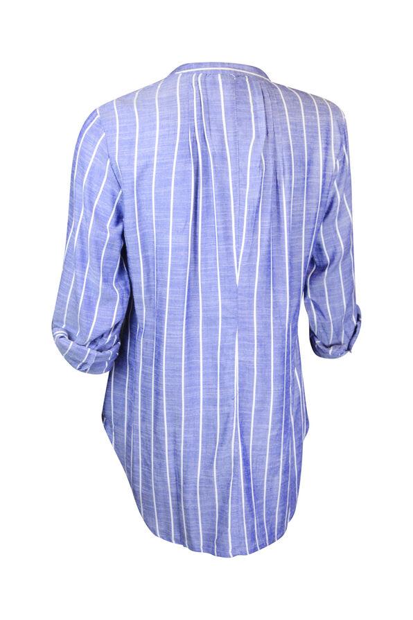 Striped Chambray Long Sleeve Top Shirttail Hem, Blue, original image number 1