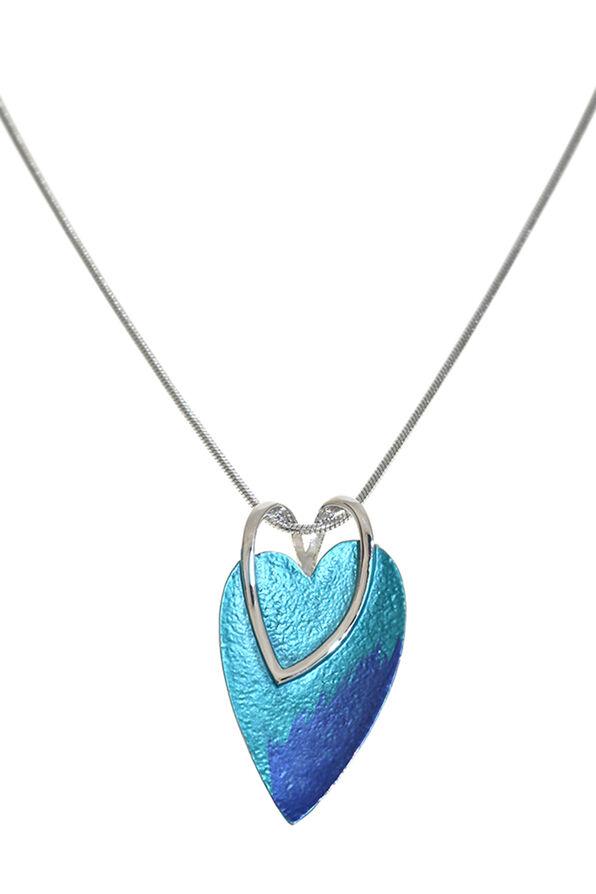 Heart on Heart Necklace, Blue, original image number 0