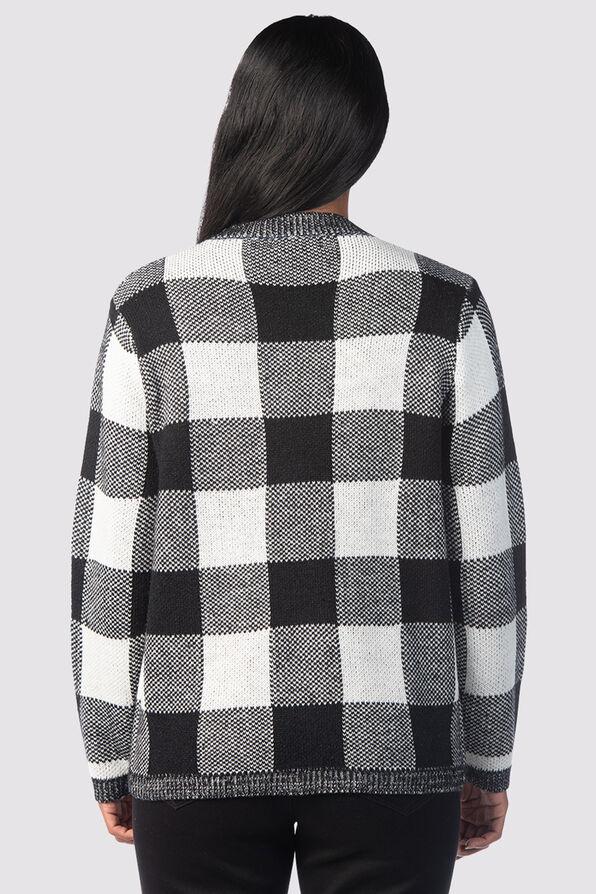 Checkered Crew Top, Black, original image number 1
