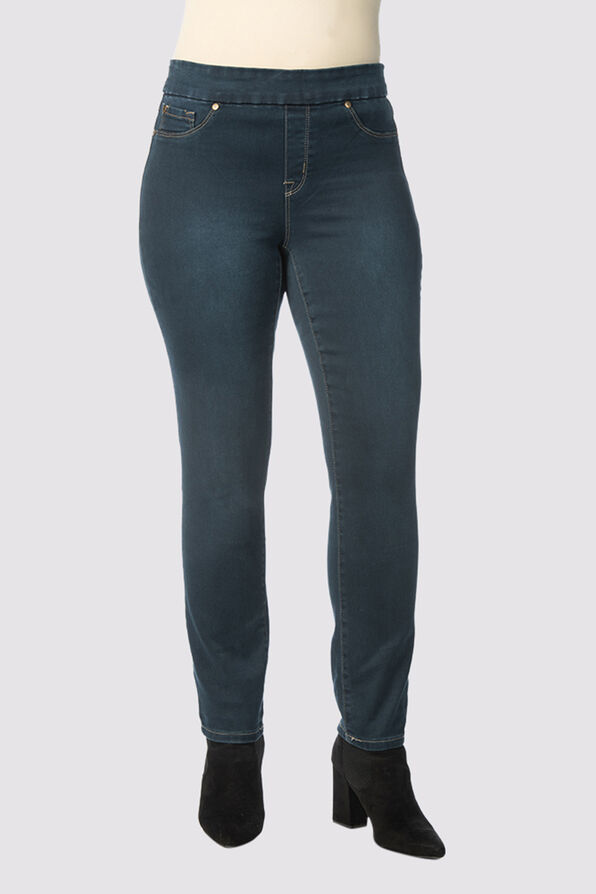 Tribal Audrey Pull-On Ankle Jean, Navy, original image number 0
