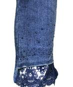 Lace and Jewel Hem Denim Crop Pant, Indigo, original image number 2