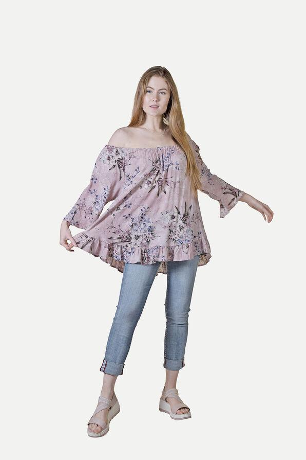 Off-the-Shoulder 3/4 Sleeve Ruffle Hem Top, Pink, original image number 0