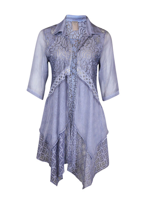 Lace and Chiffon Cardigan with Collar, Denim, original