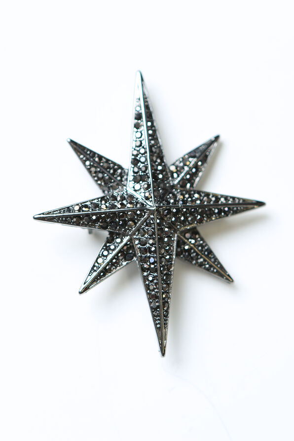 Eight Pointed Star Brooch , Black, original image number 1