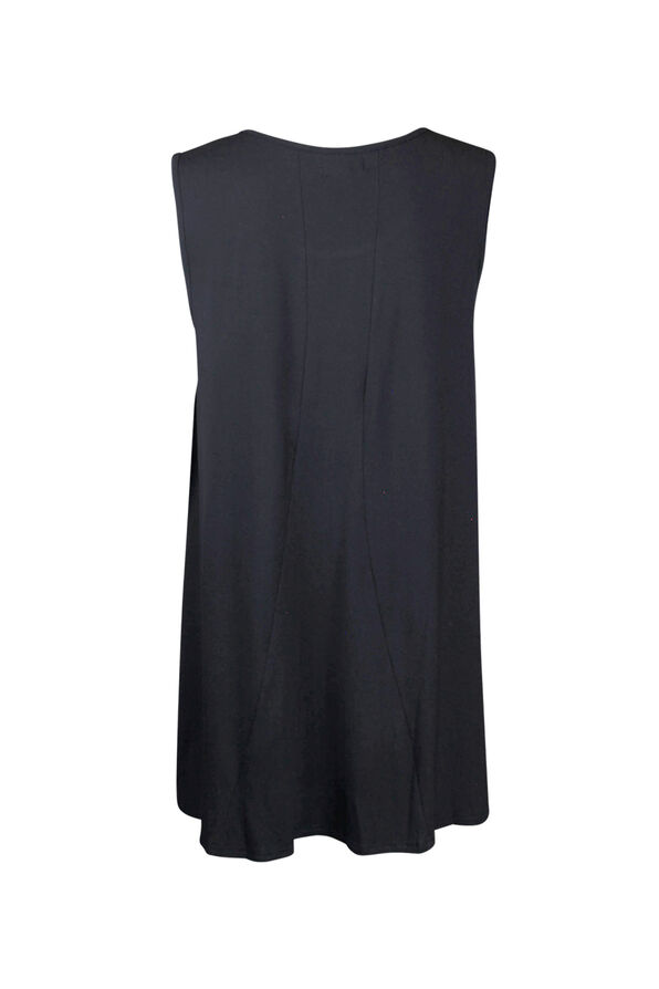 Bamboo Sleeveless Tunic with Lace , Black, original image number 1