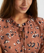 Abstract Leopard-Like Blouse, Rust, original image number 0