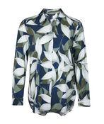 Geo Leaf Print Long Sleeve Blouse, Green, original image number 0