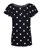 Short Sleeve Polka Dot Peasant Blouse, Navy, original image number 1