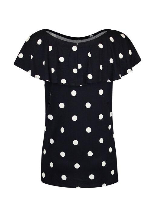 Short Sleeve Polka Dot Peasant Blouse, Navy, original