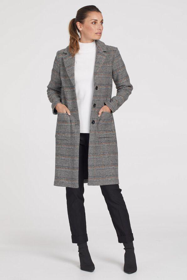 Plaid Wool Knee Length Pea Coat, Rust, original image number 0