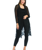 Long Sheer and Lace Cardigan, , original image number 0