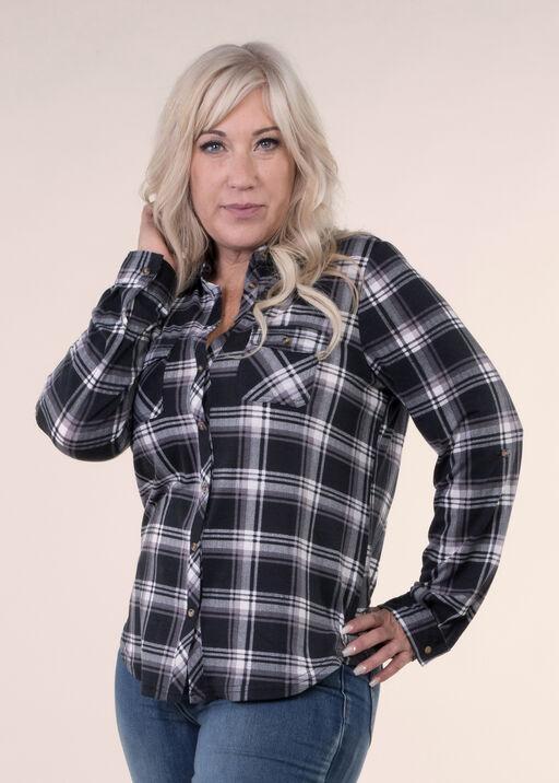 Stretch Knit Plaid Shirt, , original
