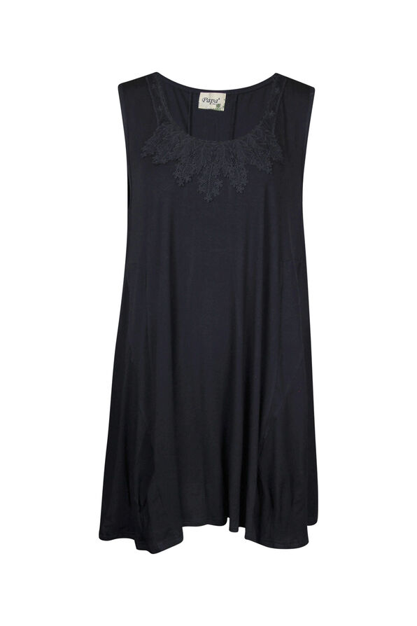 Bamboo Sleeveless Tunic with Lace , Black, original image number 0