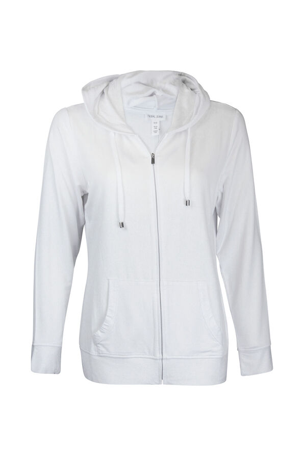 French Terry Zip Up Hoodie, White, original image number 0