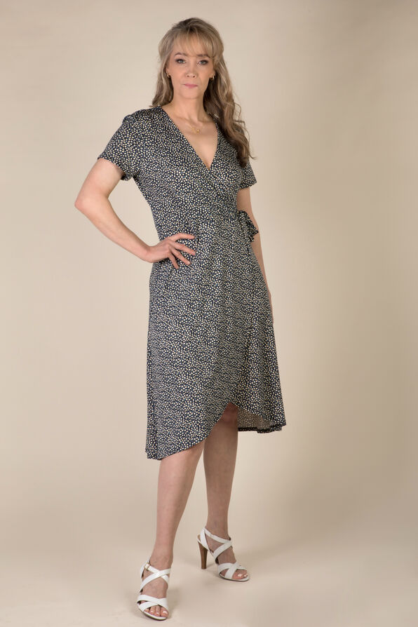 Daisy Wrap Dress, Navy, original image number 0