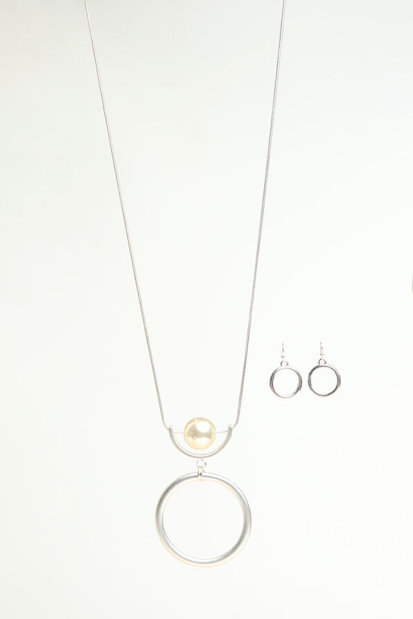 Classic Circle Pendant Necklace Set, Silver, original image number 0