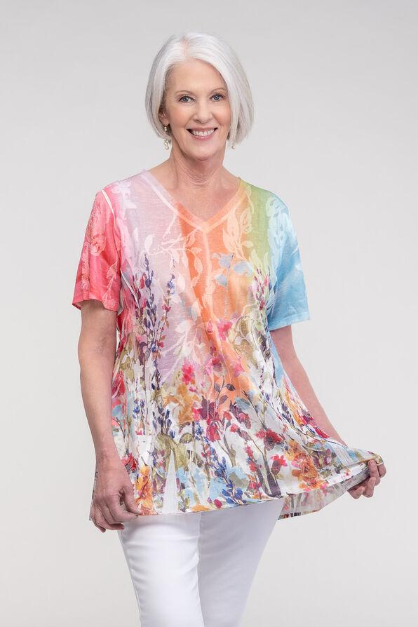 Fit and Flare Burnout T-Shirt, Multi, original image number 0