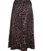 Leopard Print Sateen A-Line Skirt, Brown, original image number 1