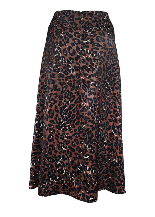 Leopard Print Sateen A-Line Skirt, Brown, original