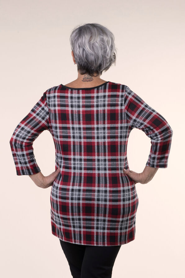 Plaid Knit Tunic , Red, original image number 1