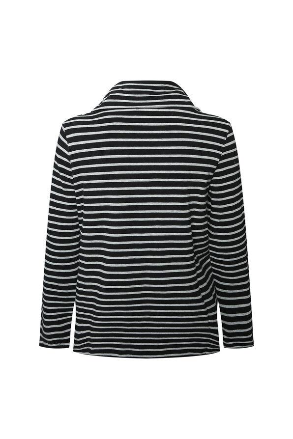 Mitered Stripe Cowl Neck Top, Black, original image number 1