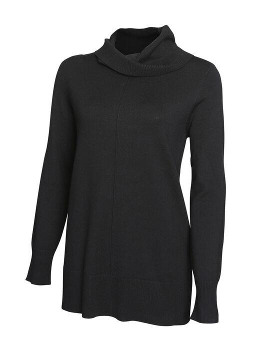 Ribbed Trim Cowl Neck Sweater, , original