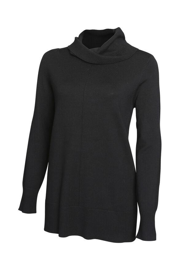 Ribbed Trim Cowl Neck Sweater, , original image number 1