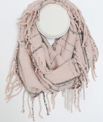 Plaid Boucle Infinity Scarf with Fringe, , original image number 0