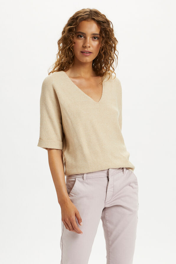 Cream Sillar Knit Pullover Sweater, Beige, original image number 0