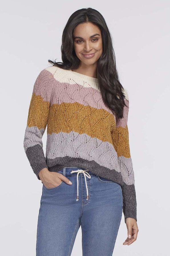 Katie Waffle Sweater, Multi, original image number 0