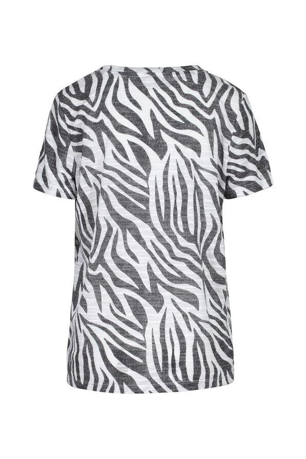 Zebra Print V-Neck T-Shirt, Black, original image number 1