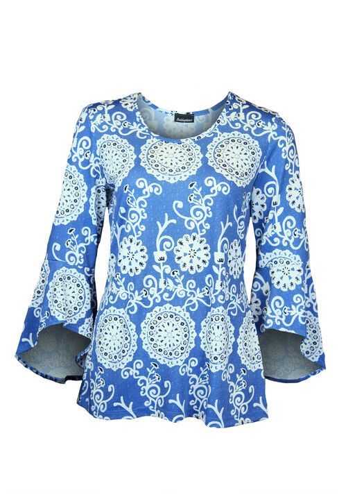 Puff Print Bell Sleeve Top, , original