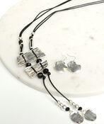 Dazzling Long Necklace Set, Silver, original image number 1