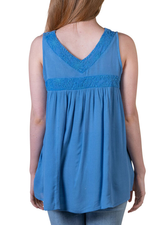 Sleeveless V-Neck Peasant Top with Embroidery, Blue, original