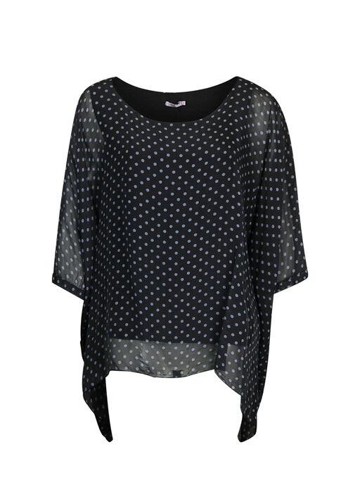 Silk Polka Dot Blouse with Short Sleeves, , original