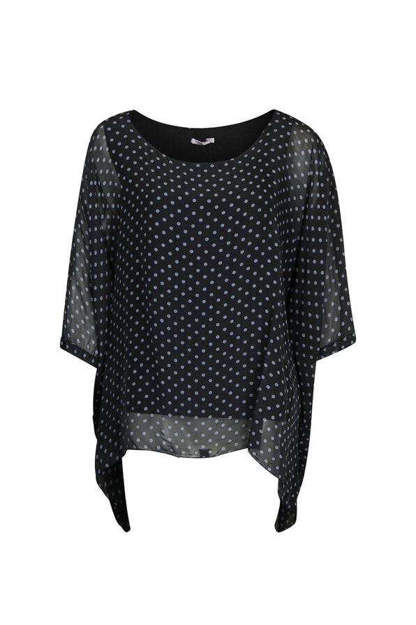 Silk Polka Dot Blouse with Short Sleeves, , original image number 0