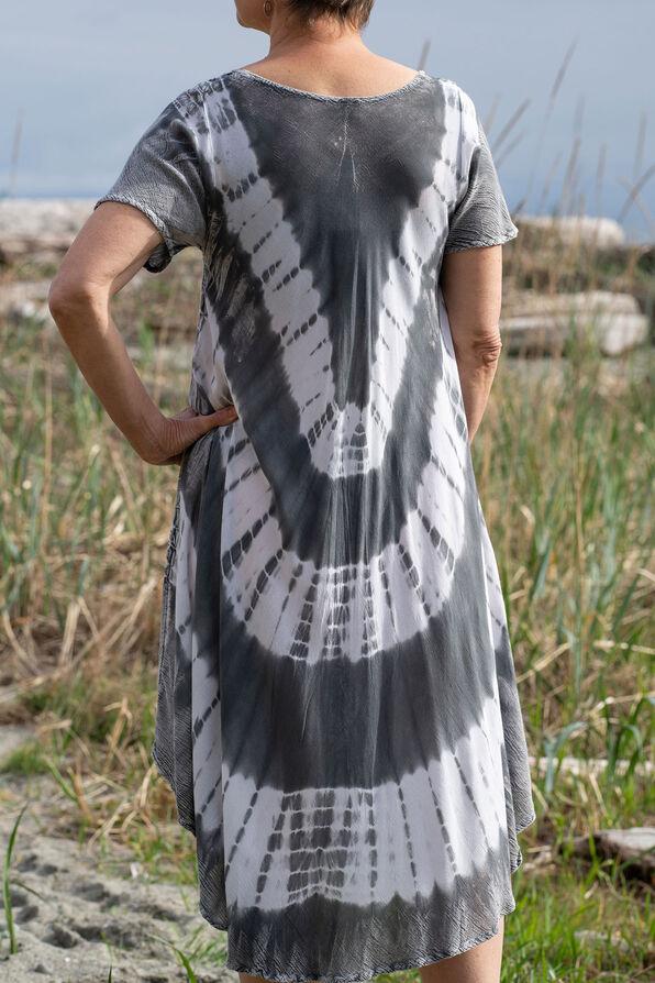 Short Sleeve Tie Dye Swing Dress, Grey, original image number 2