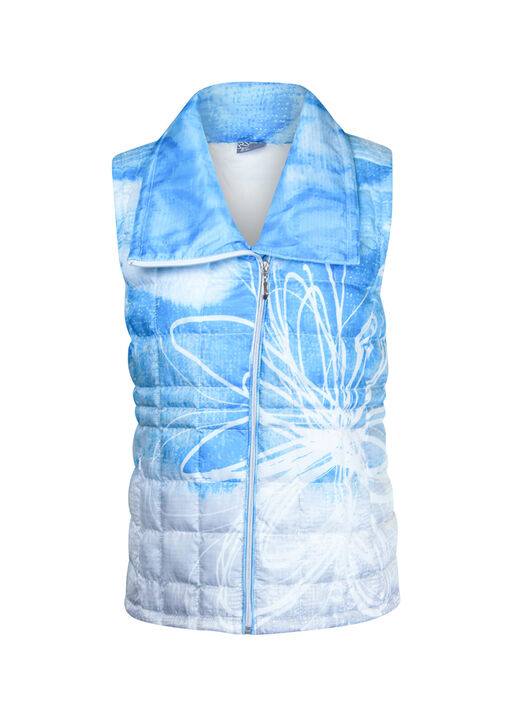 Quilted Puffer Vest with Big Collar, Turquoise, original