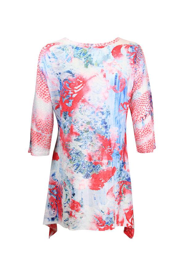 Mixed Print 3/4 Sleeve Burnout Shirt, Pink, original image number 1
