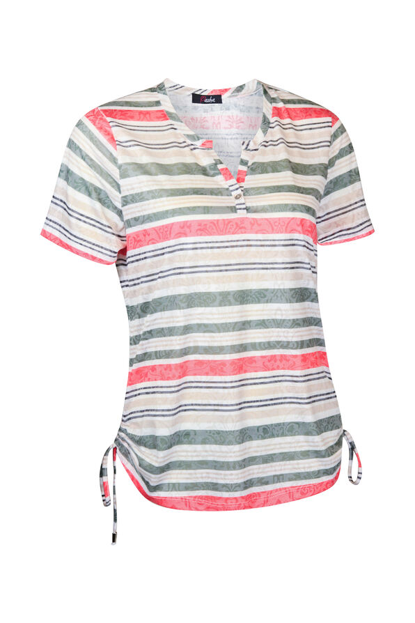 Striped Burnout T-shirt with Side Ruche Drawstrings, White, original image number 0