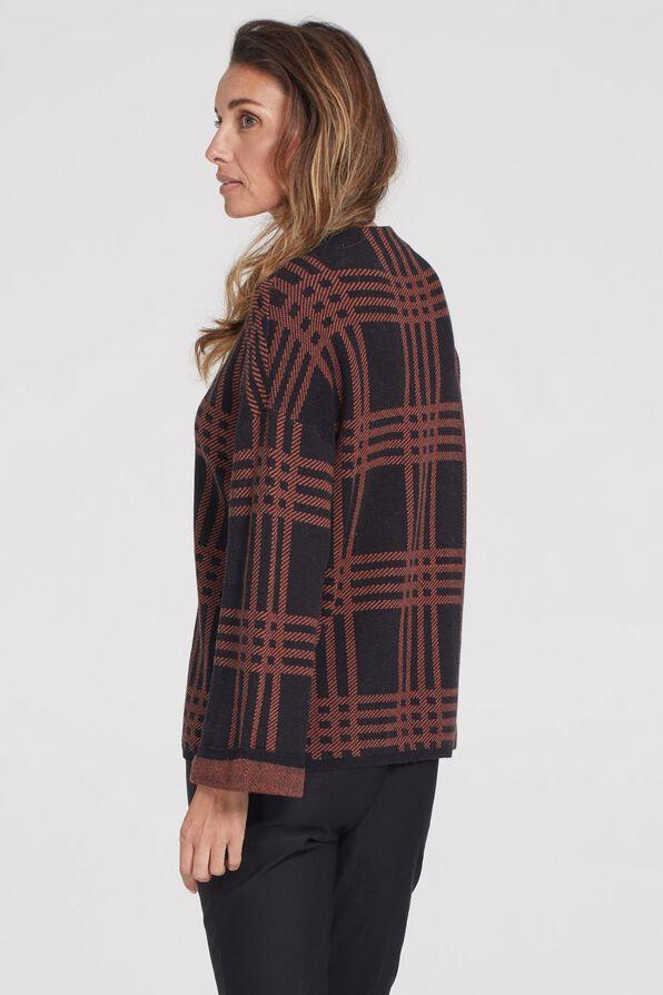 Plaid Mock Neck Sweater, Rust, original image number 3