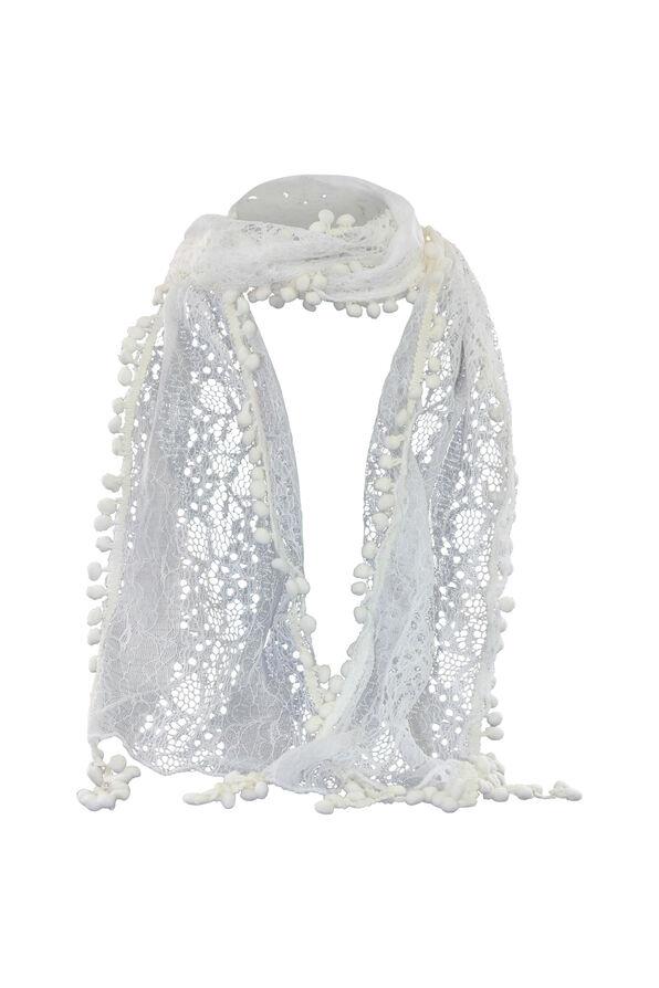 Pom Pom Fringe Lace Scarf, White, original image number 0